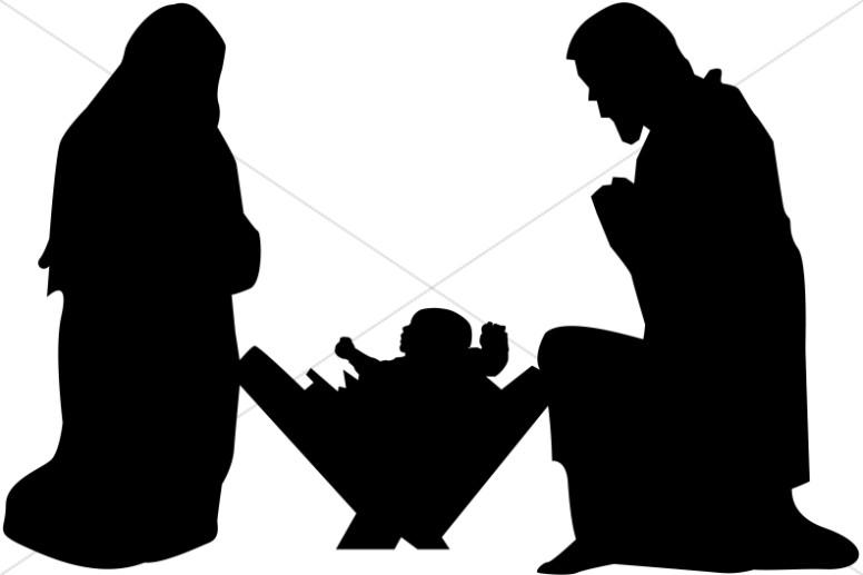 776x517 Mary, Joseph And Baby Jesus Silhouette Nativity Clipart