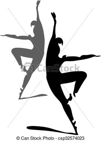 338x470 Ballet Dancers Silhouette 1 Vector Illustration