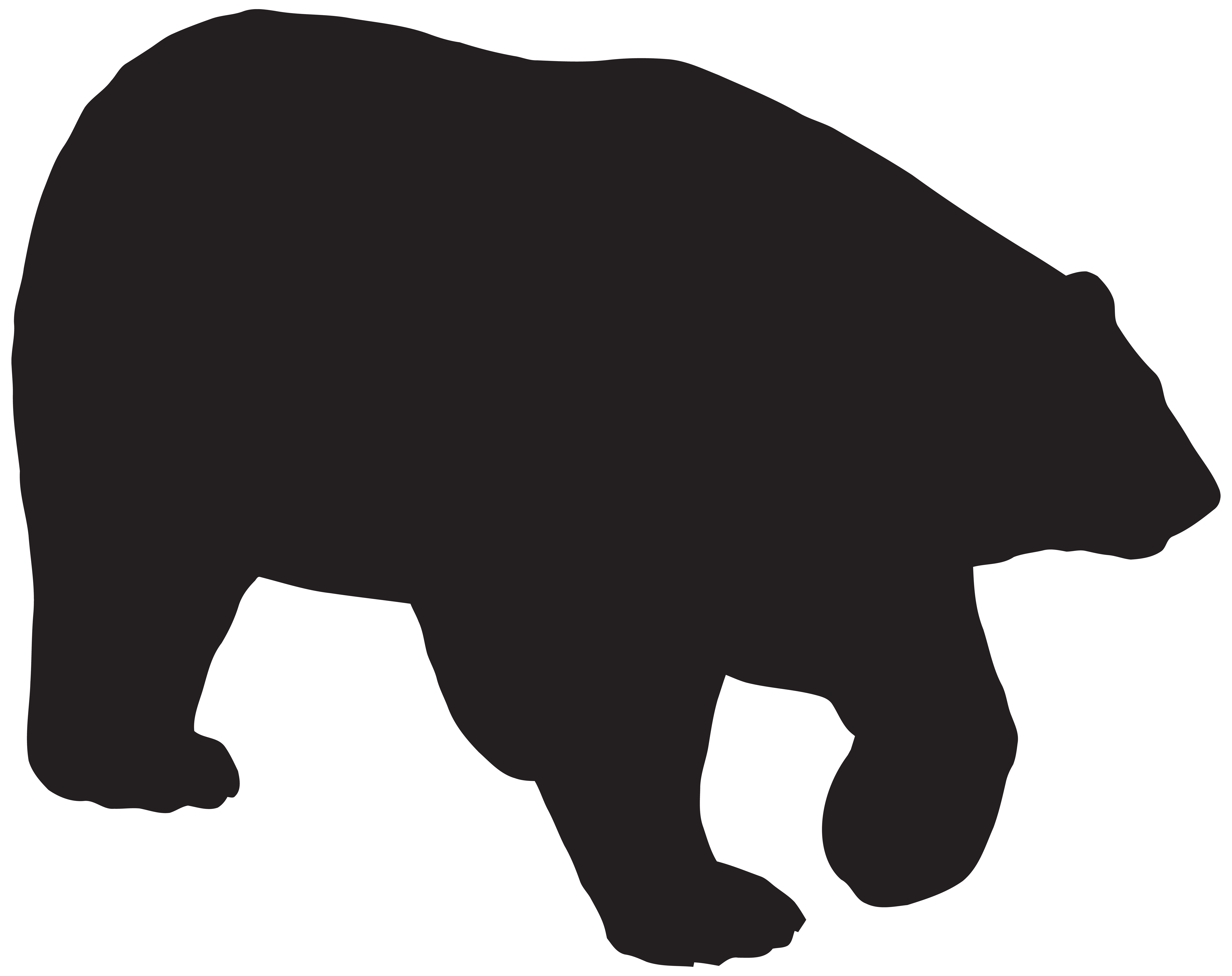 8000x6337 Grizzly Bear Silhouette Clip Art