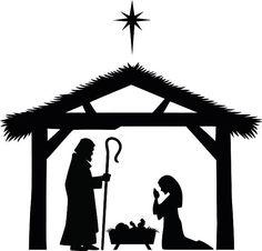 236x226 Christmas Nativity Religious Bethlehem Crib Scene Silhouette,