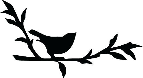 500x275 Bird On Branch Silhouette Or Birds On Branch Silhouette Wall Decal