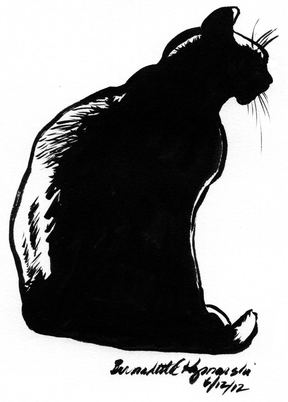 1000x1397 Daily Sketch Reprise Mimi En Silhouette, 2012 ~ The Creative Cat