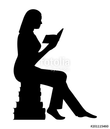 429x500 Silhouette Of A Woman Sitting On A Pyramid Of Books Stock Image