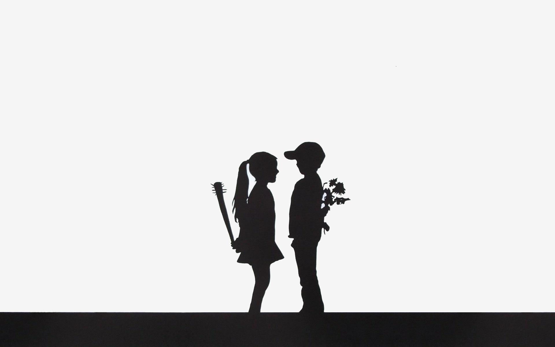 1920x1200 Wallpaper Illustration, Flowers, Silhouette, Brand, Boy, Girl
