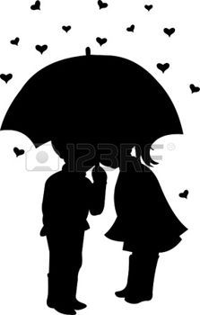 223x350 Umbrella Silhouette Boy And Girl Under Umbrella On Hearts Shapes