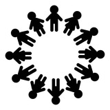 160x160 Happy Friendship Day. Man And Woman Pictogram Icon Sign. People