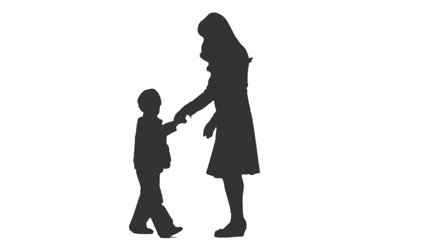 852x480 Silhouette Of Two Little Boys Walking Holding Hands. Side View