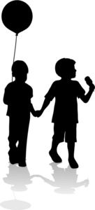 136x300 Silhouettes Of Two Children Holding Balloons Colossal Coaster