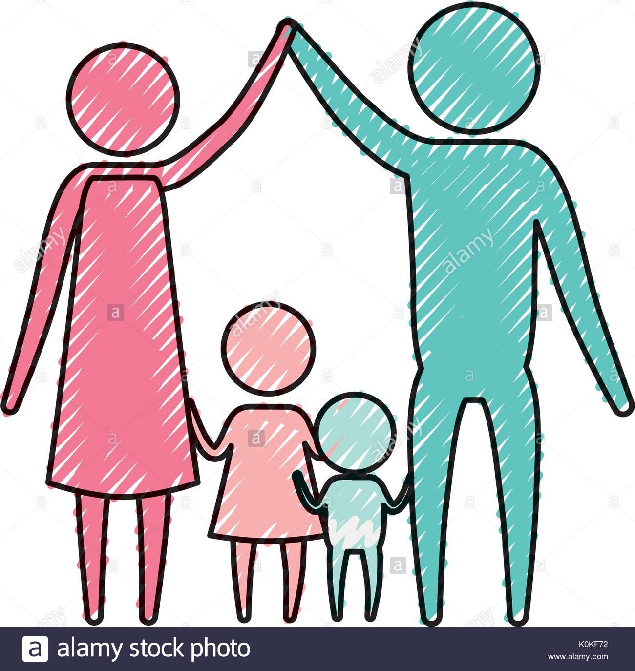 1300x1374 Color Crayon Silhouette Pictogram Couple Parents Holding Hands Up