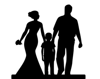 340x270 Bride And Groom Silhouette Wedding Cake Topper Child