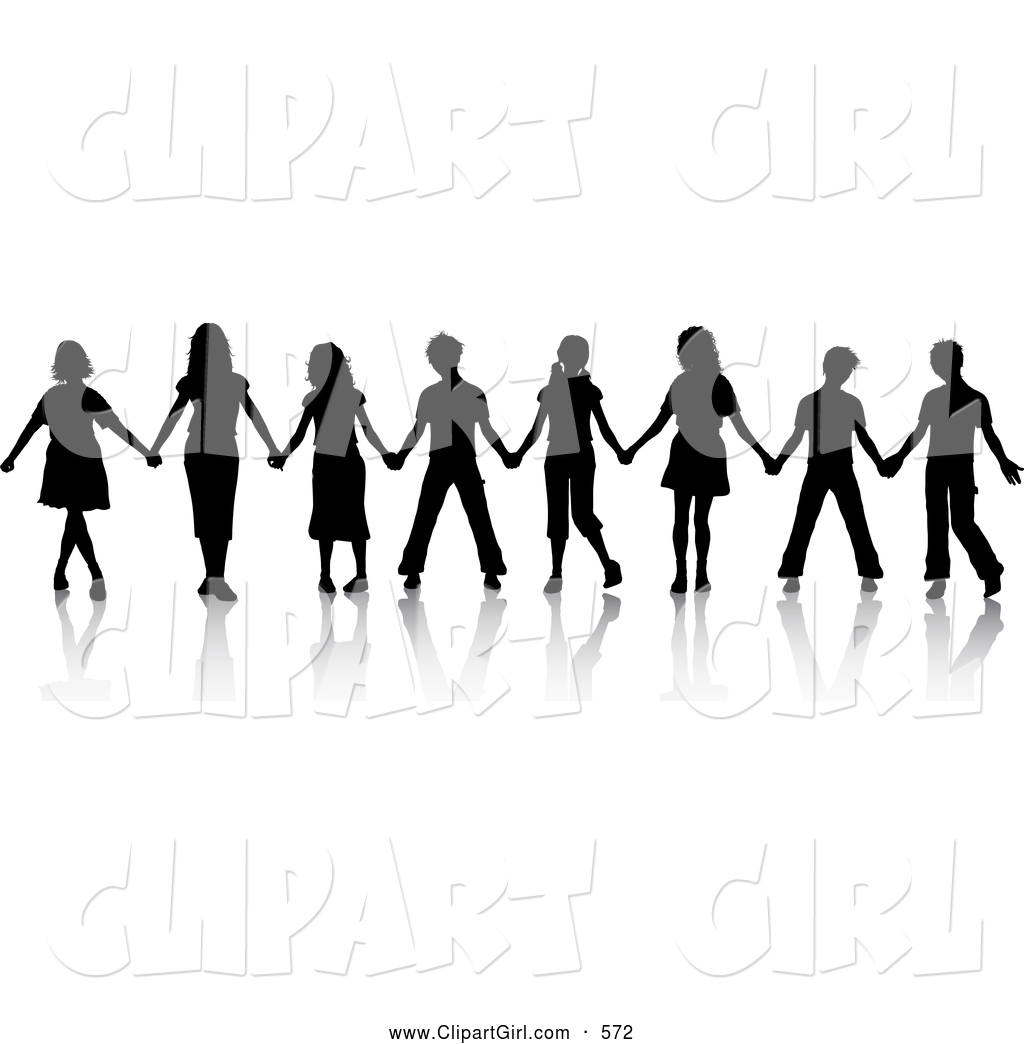 1024x1044 Clip Art Of A Group Of Black Silhouetted Boys And Girls Standing