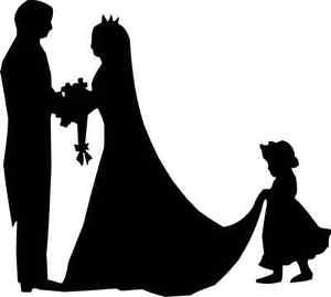 300x269 Die Cut Silhouette Bride Groom Bridesmaid X 8 Card Making Wedding