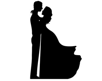 340x270 Bride And Groom Silhouette Wedding Cake Topper