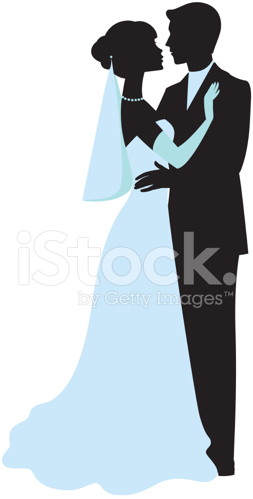 519x1024 Bride And Groom Silhouettes Stock Vector