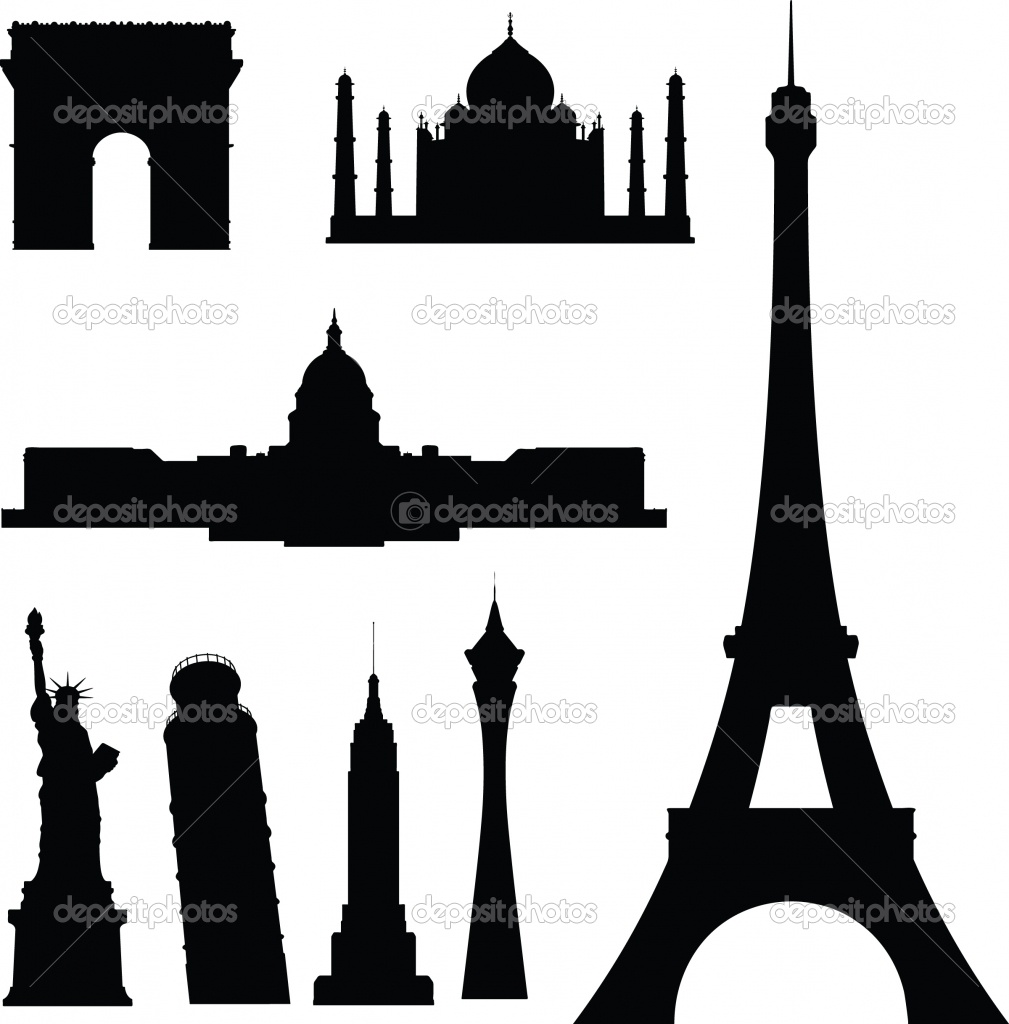 1009x1024 Famous Buildings Vector Silhouettes Foto Stock