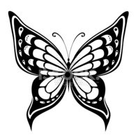 198x200 Ornamented Abstract Silhouette Butterfly Stock Vectors