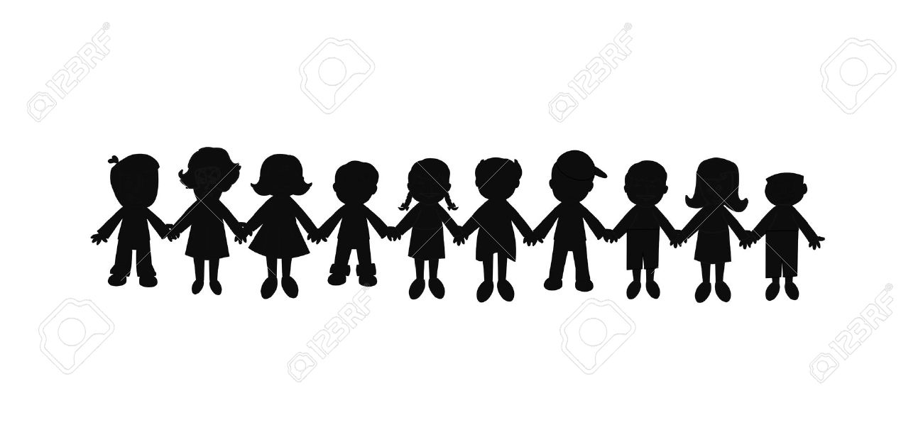 1300x616 Free Silhouette Clipart Group Of Women Friends Holding Hands