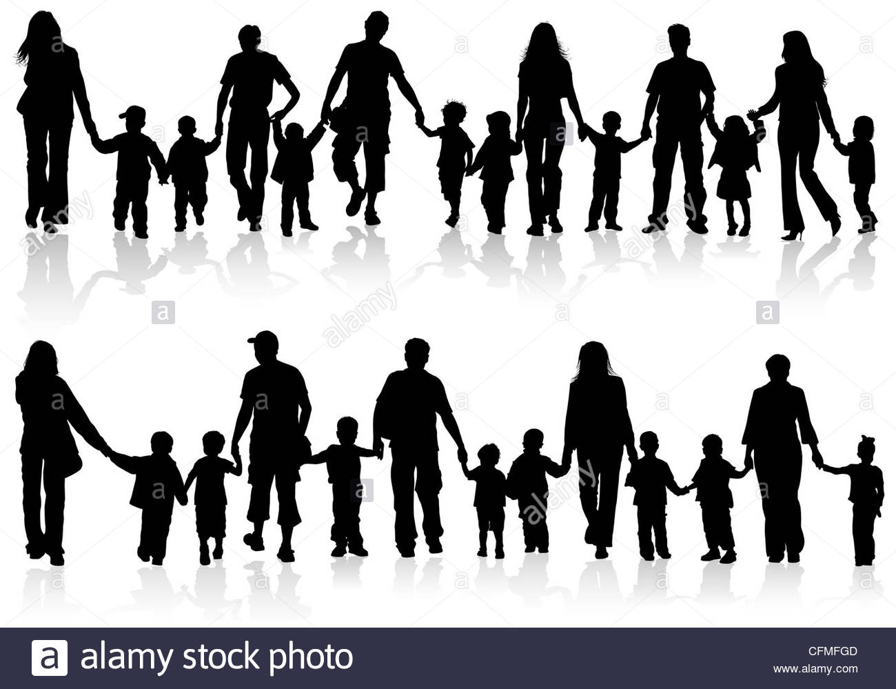 1300x999 Large Set Of Silhouettes Of Parents With Children Holding Hands