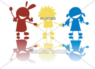 380x278 Stock Photo Happy Little Children Holding Hands Colors