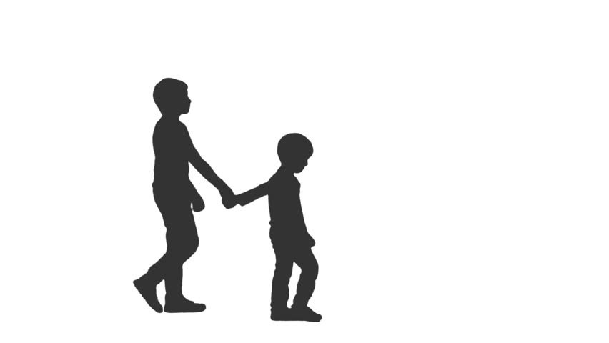 852x480 Two Children Holding Hands Silhouette