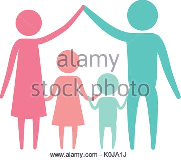 362x320 Color Silhouette Set Pictogram Parents With A Girl Holding Hands