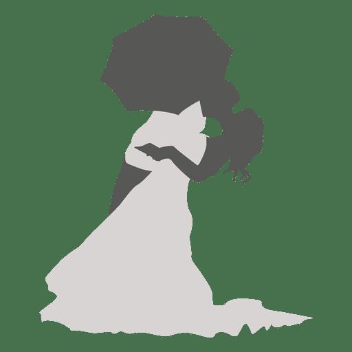 512x512 Kissing Wedding Couple Under Umbrella