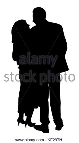 262x470 Back A Couple Man And Woman Walking Under An Umbrella Stock Vector