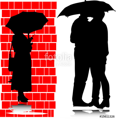 487x500 Kiss Under The Umbrella Silhouettes Stock Image And Royalty Free