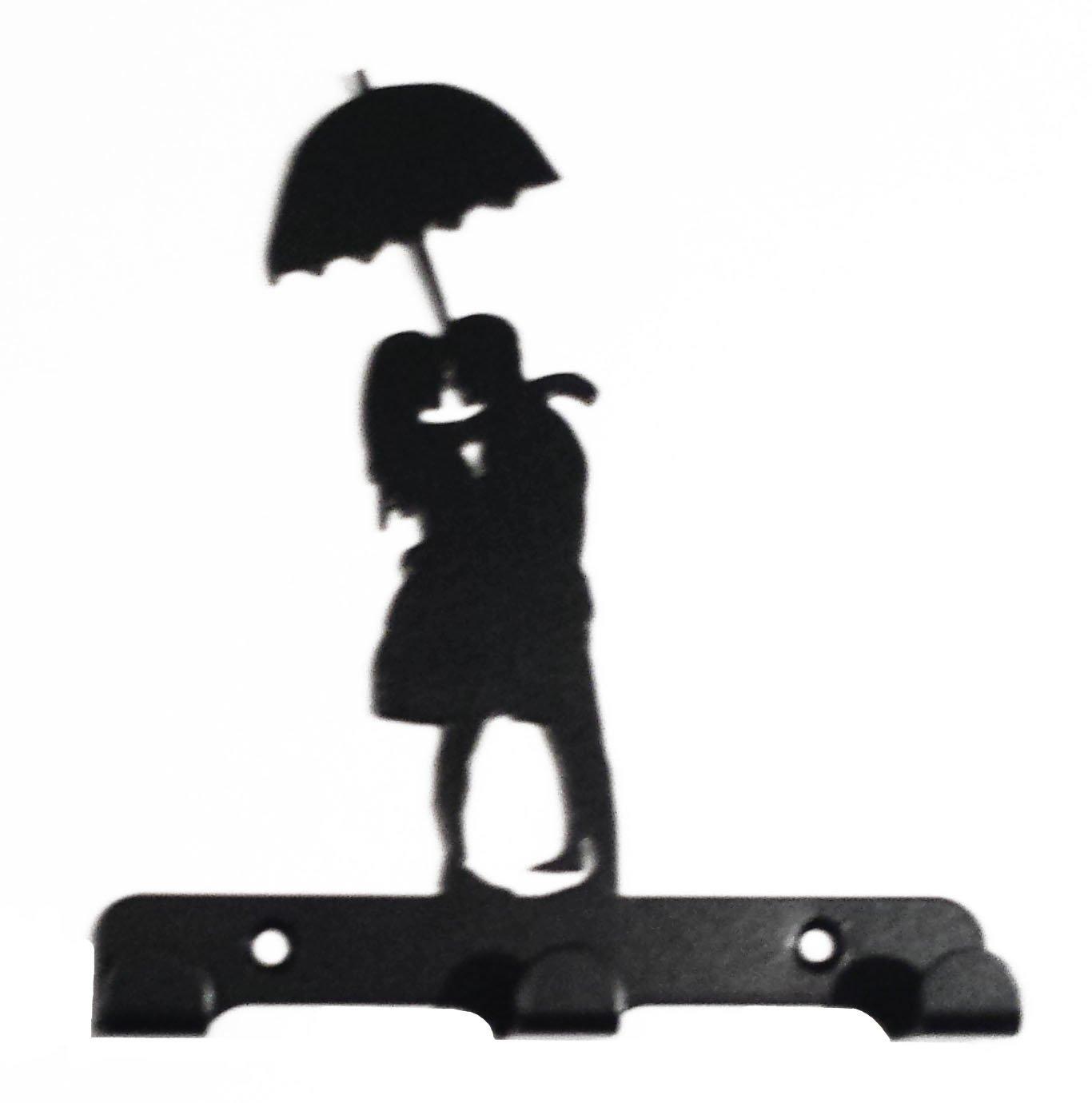 1366x1380 Couple Under Umbrella Silhouette Key Hook Rack Metal Wall