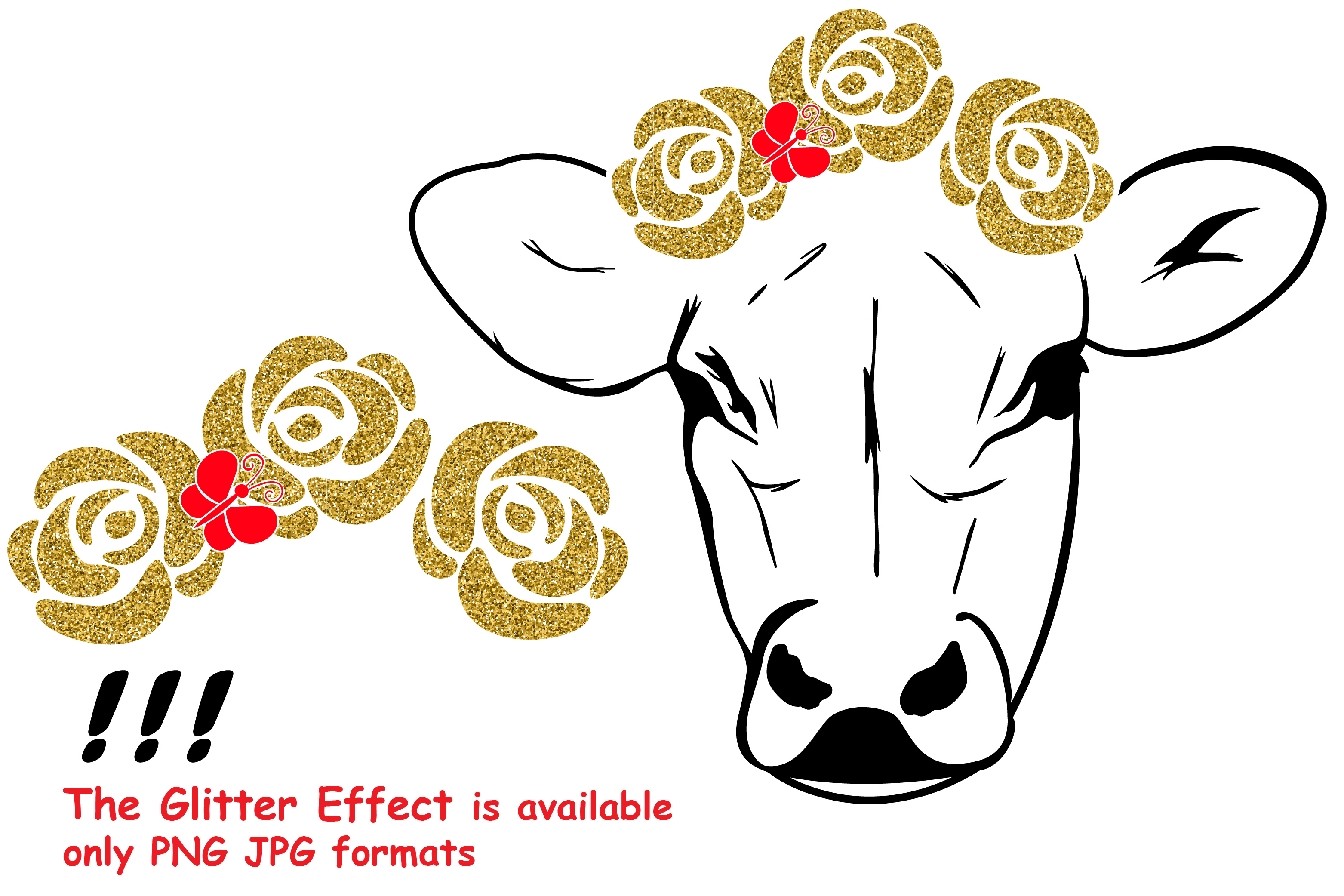 3125x2083 Cow With Flowers Silhouette Svg Cutting Design Bundles