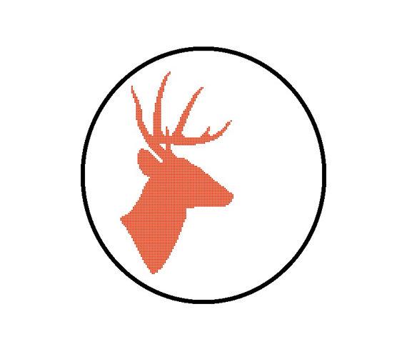 570x503 Deer Silhouette Cross Stitch Pattern Deer Head Crossstitch