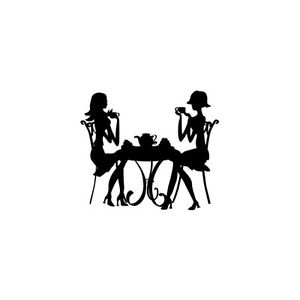 300x300 Girl's Tea Time Silhouette Cross Stitch Pattern Chart Ebay