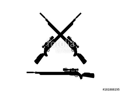 500x382 Black Sniper Rifles Cross Illustration Logo Silhouette Stock