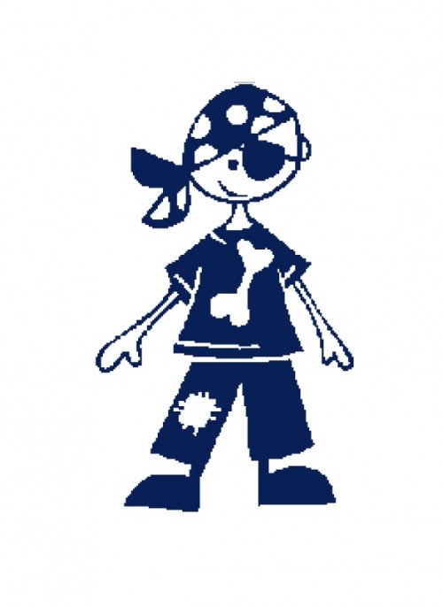 500x686 Pirate Kid Silhouette Cross Stitch Pattern In Pdf Vandihand