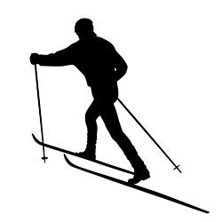 250x250 Skiing Clipart Silhouette