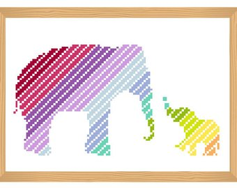 340x270 Elephant Cross Stitch Pattern, Silhouette Cross Stitch, Ornamental