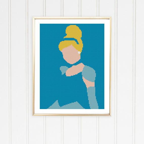 570x570 Cinderella Silhouette Cross Stitch Pattern Princess Silhouette
