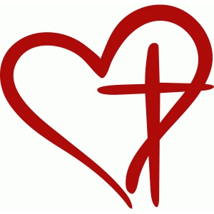 300x300 Clip Art Of Cross With Heart Silhouette Design Store Your Cricut