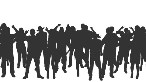 480x270 People Crowd Dancing In Silhouettes, Full Hd Footage With Alpha