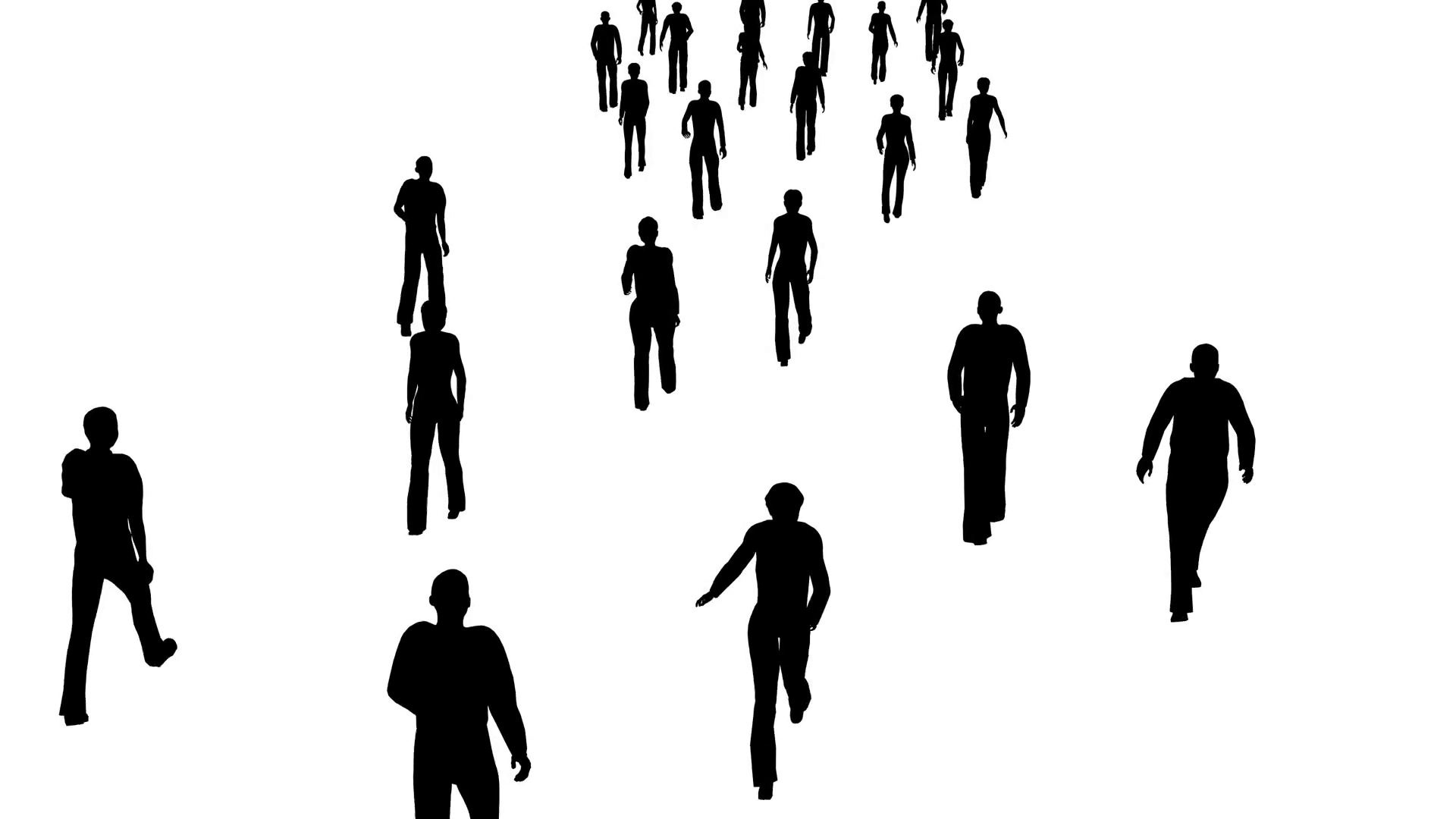 1920x1080 4k Silhouette Crowd Of People Moves, Side View Motion Background