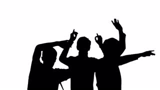 320x180 Silhouette Of Dancing Crowd People Motion Background