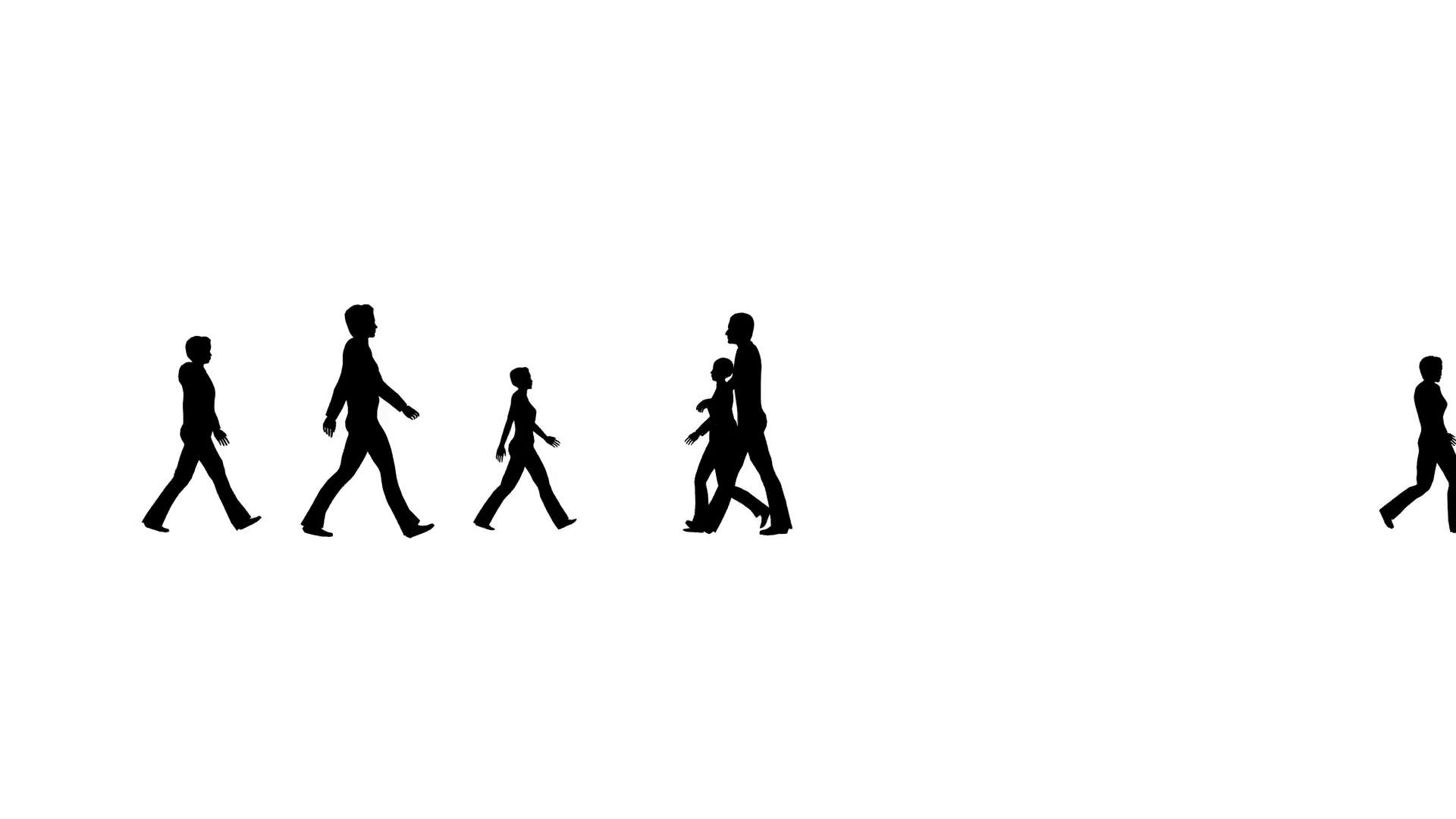 1920x1080 4k Silhouette Crowd Of People Moves, Side View Stock Video Footage