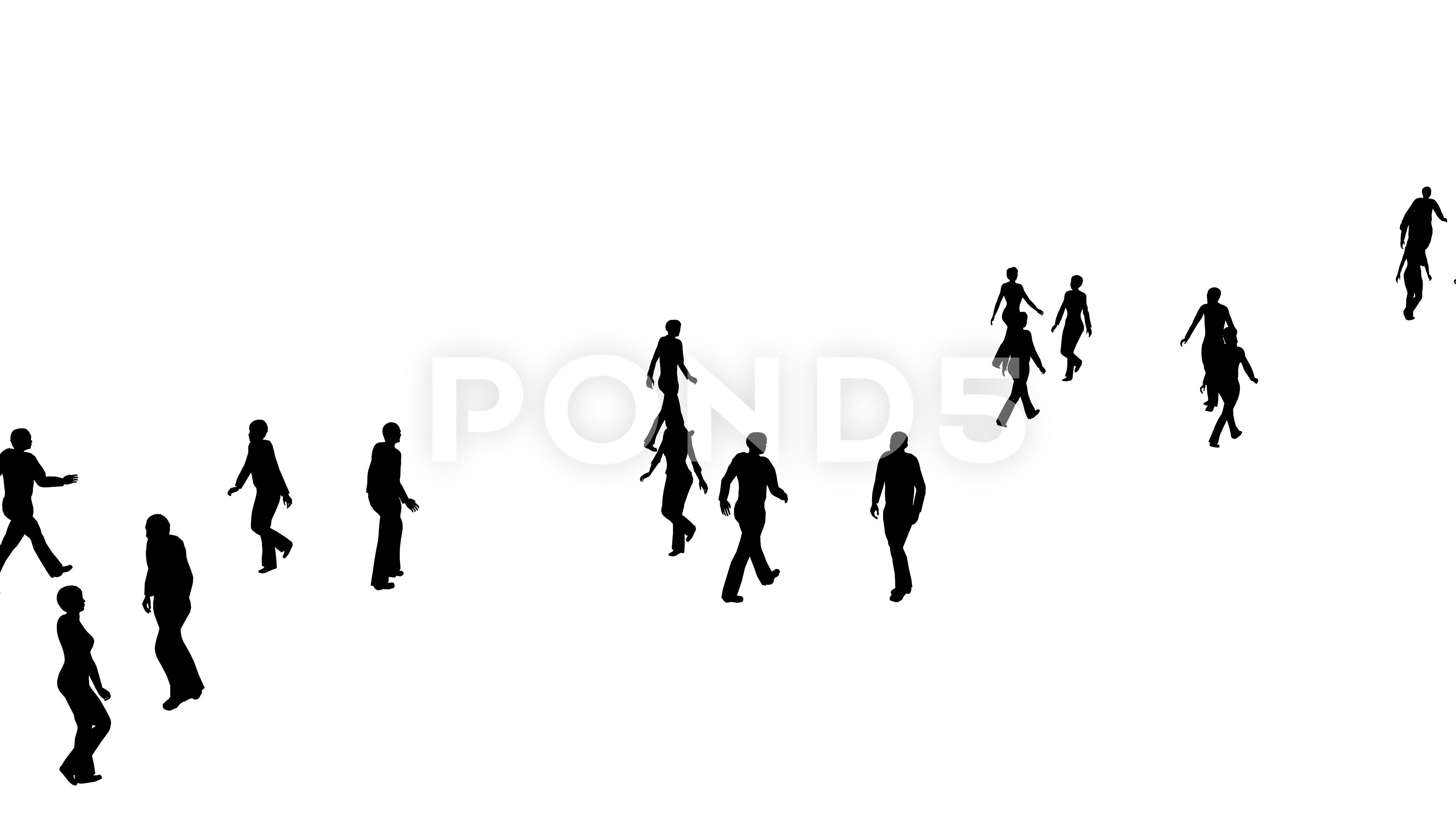 3840x2160 4k Silhouette Crowd Of People Moves, Side View ~ Footage