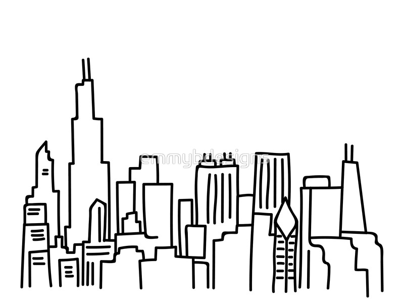800x610 Chicago Skyline Outline Drawing