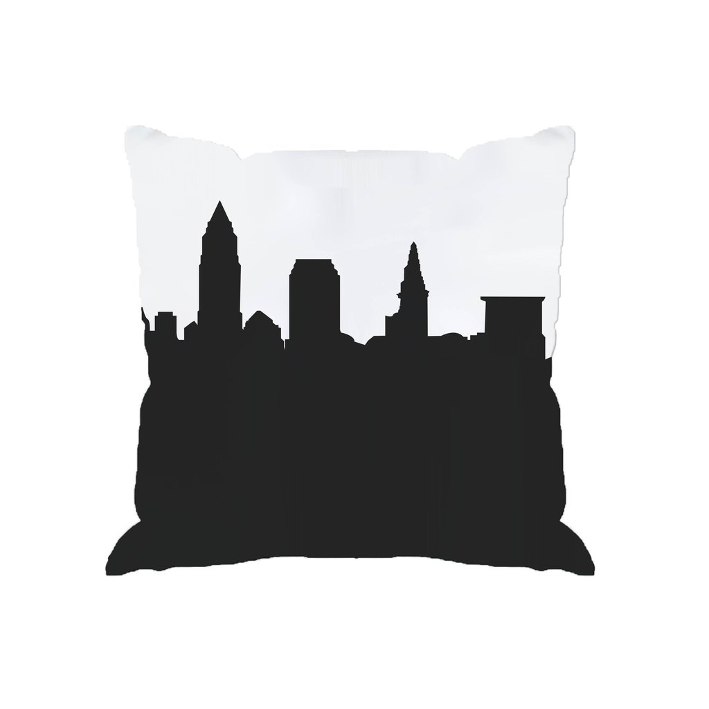 1024x1024 Skyline Silhouette Cityscape Large Throw Pillow Anne Cate