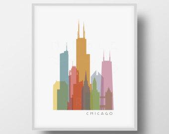 340x270 Durham NC Skyline Silhouette Printable Download Black and