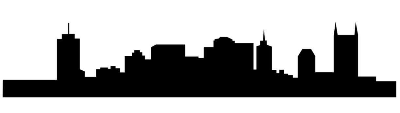 1224x347 Nashville Skyline Outline Drawing