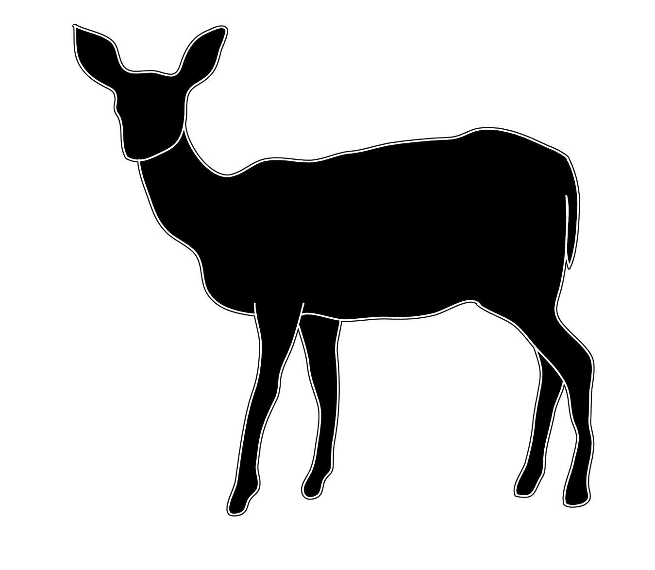 1349x1173 Silhouette Sketch Of Female Deer Art Silhouettes