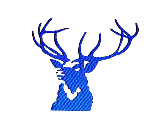 570x453 Deer Antlers Silhouette Stag Head Embroidery Design In 3 Sizes