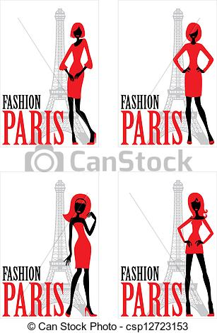 307x470 Four Card With Silhouette Of Woman And Eiffel Tower Clipart Vector